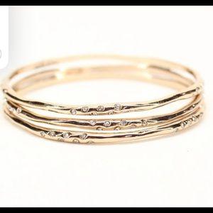 Stella & Dot Gold & Rhinestone Stacking Bracelets